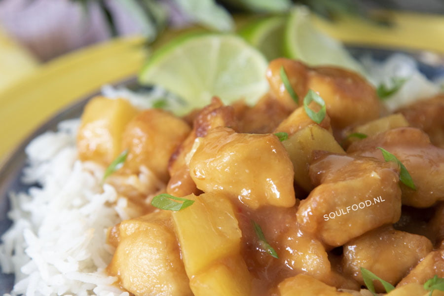 zoetzure kip met ananas sweet 'n sour chicken recept Caribisch jurino