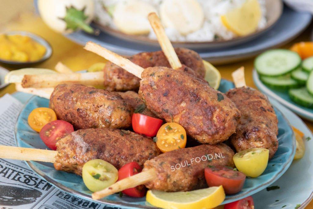 suikerriet kipspiesjes sugar cane recept recipe shish kebab chicken