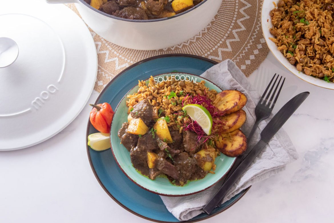 jamaicaanse curry goat  rice and peas recept ⋆ soulfoodnl